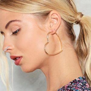 Gold Oversized Heart Hoop Earrings